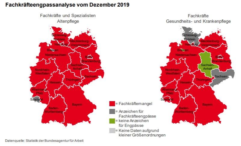 Fachkräftemangel Altenpflege Krankenpflege regional Bundesländer